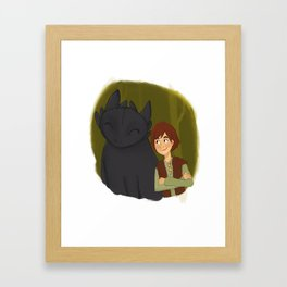 Hiccup and Toothless Framed Art Print