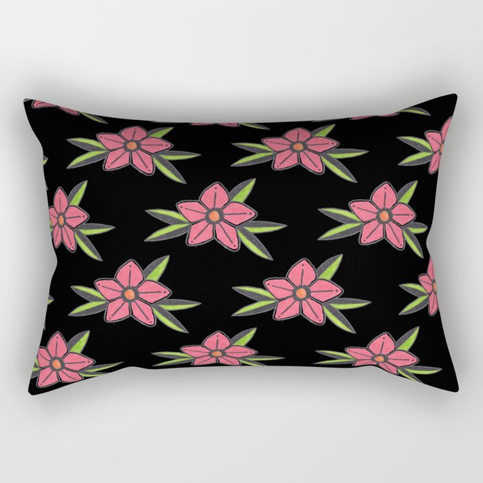 Hand Drawn Old School Tattoo Flower - Black Rectangular Pillow