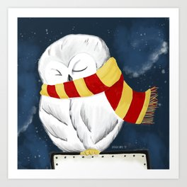 Sleepy Hedwig Art Print