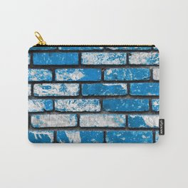 brick wall background in blue and white Carry-All Pouch