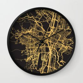 MEDELLIN COLOMBIA GOLD ON BLACK CITY MAP Wall Clock