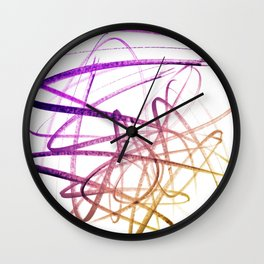 Violet Mulberry Goldenrod Tangled Abstract Wall Clock