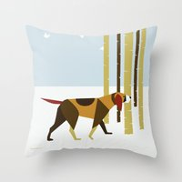 the hound Throw Pillows featuring Winter Hound by Freedom Art Inc.