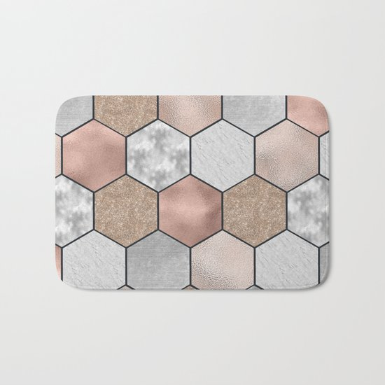 Marble hexagons and rose gold on black Bath Mat