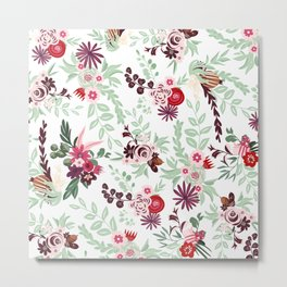 Abstract red pastel green pink country floral pattern Metal Print