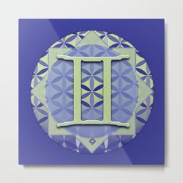 Flower of Life GEMINI Astrology Design Metal Print