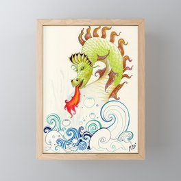 A happy dragon Framed Mini Art Print