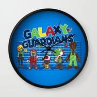 guardians of the galaxy Wall Clocks featuring Galaxy of Guardians by DoodleHeadDee
