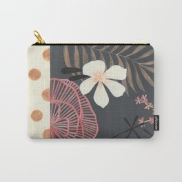 Dark Tropical Foliage with Polka dots Carry-All Pouch