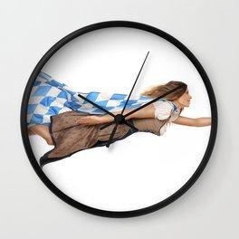 Superhero beer woman Wall Clock