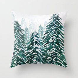 snowy pine forest in green Throw Pillow
