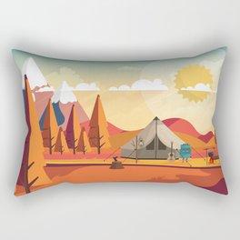 Wild Camping Autumn Landscape Rectangular Pillow