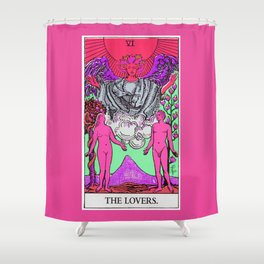 6. The Lovers- Neon Dreams Tarot Shower Curtain