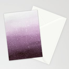 Falling Snow on Purple Stationery Cards