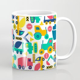 Simple Shapes Construction Vehicles Primary Colors  Coffee Mug