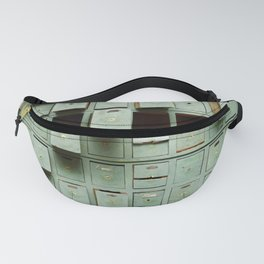 Old green wooden cabinet with drawers Fanny Pack
