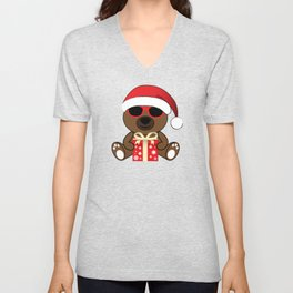 Cool Santa Bear with sunglasses and Christmas gifts pattern Unisex V-Neck