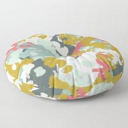 Rumor - Abstract painting, design pink mustard blue painterly design Floor Pillow