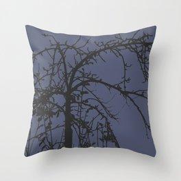 Creepy tree silhouette Throw Pillow