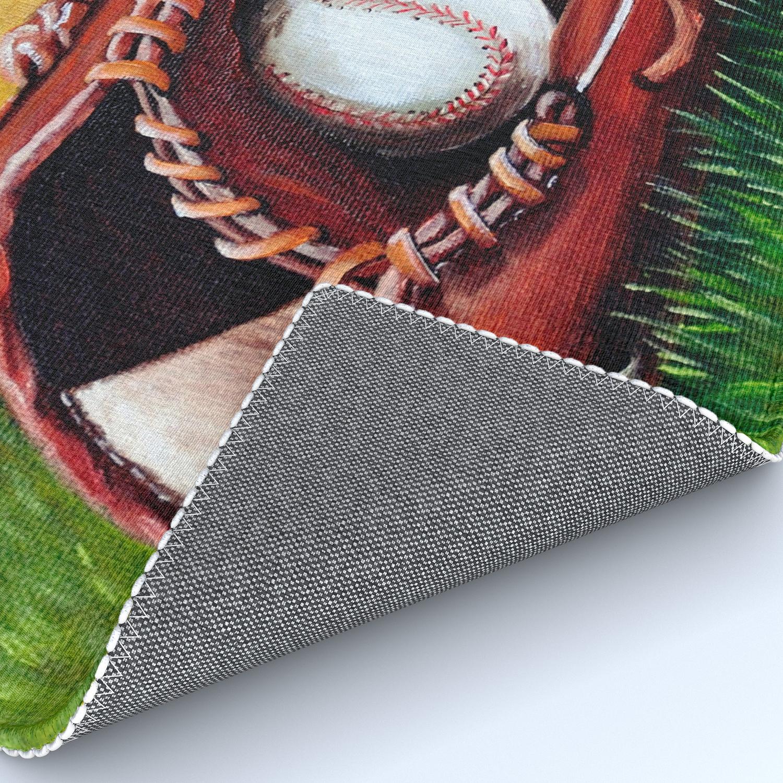 Baseball Fine Art Print Giclee Boys Room Whimsical Sports Decor Theme Rug By Artbyafox