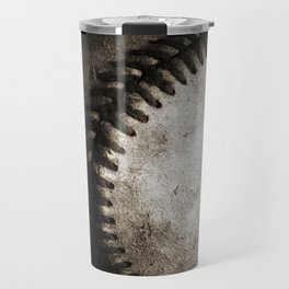 Battered Baseball in Black and White Travel Mug