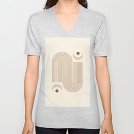 Geometric lines and Moon phases in Neutral color Unisex V-Neck