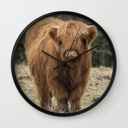 Scottish Highland young cow Wall Clock