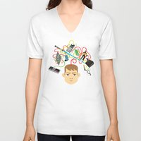nerd V-neck T-shirts featuring Nerd by Mouki K. Butt