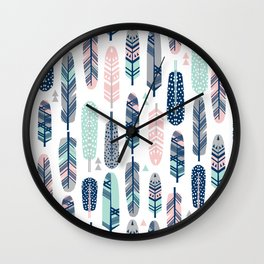 Feathers geometric trendy gender neutral colors modern feather and arrows pattern print dorm college Wall Clock