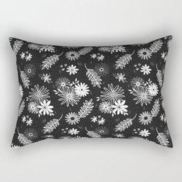 Cute Black and White Floral Flower Pattern Design // Garden Greenery Vines Leaves Gerber Daisy Rectangular Pillow