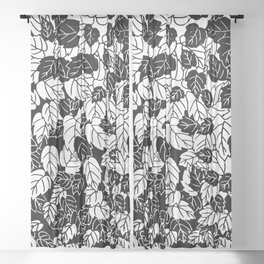 Japanese Leaf Print, Black and White Sheer Curtain