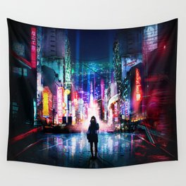 Tokyo Cyberpunk Japan Wall Tapestry