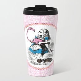 Alice in Wonderland | Alice playing Croquet with a Flamingo and Hedgehogs Metal Travel Mug
