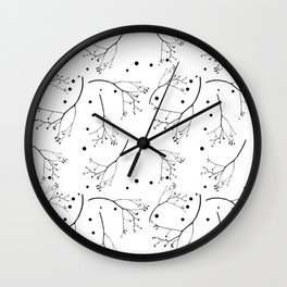 Modern botanical: black branches and berries pattern Wall Clock