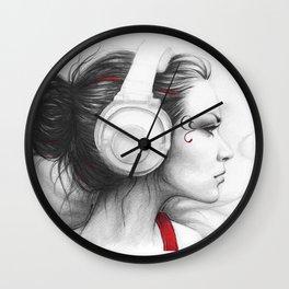 I Love Music   Girl in Headphones Wall Clock