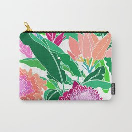 Bird of Paradise + Ginger Tropical Floral in White Carry-All Pouch