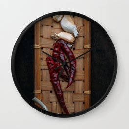 Spices in bamboo basket Wall Clock