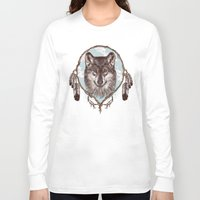 gray Long Sleeve T-shirts featuring Gray Wolf by Rachel Caldwell