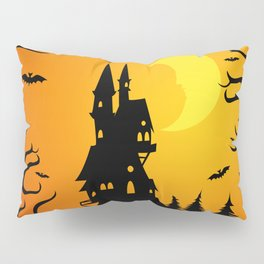 Scary dark forest with a fairy castle on top of the mountain lit by the bright light of the moon Pillow Sham