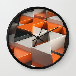 Pattern of black, white and orange triangle prisms Wall Clock