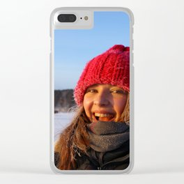Happy young woman with frost on face Clear iPhone Case