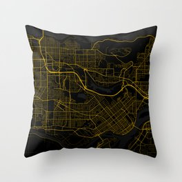 Burnaby - Canada Gold City Map Throw Pillow