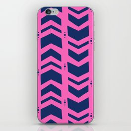 Midnight navy blue hot pink abstract geometric pattern iPhone Skin