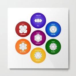 7 Chakras and Colors - Reiki Metal Print
