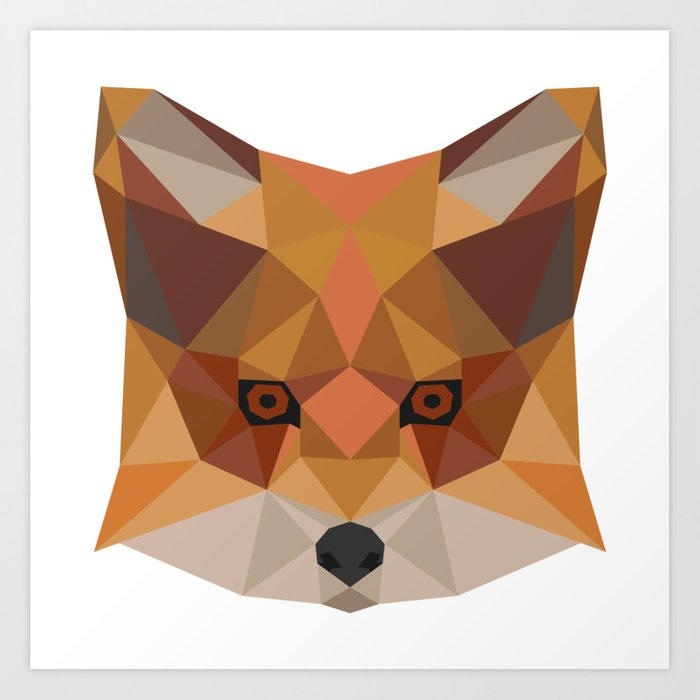 Fox Head Geometric Hipster Gift Idea Animal Draw Art Print By Franja2 Society6