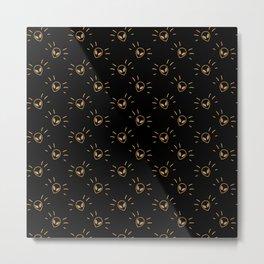 Gold Alien in black pattern Metal Print