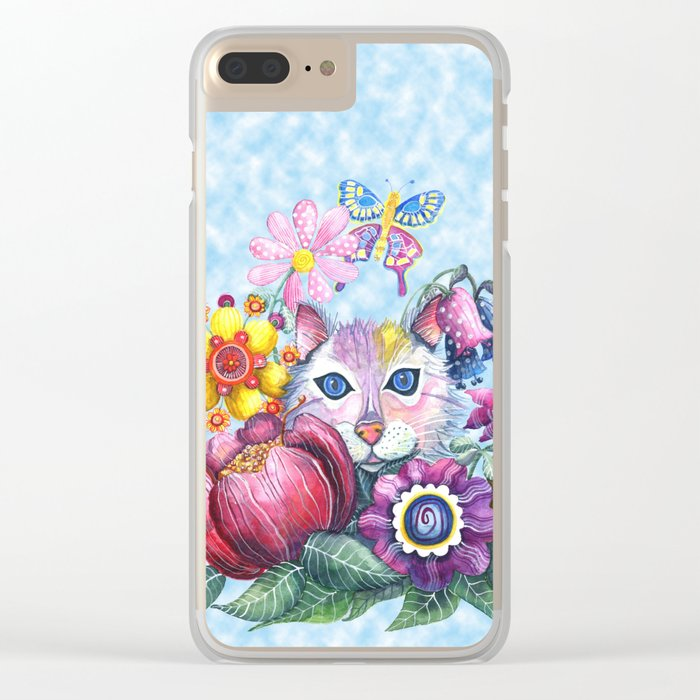 Camouflaged in a Summer Garden Clear iPhone Case
