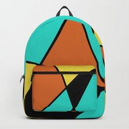 Aqua, Gold, Orange, and Black Geometric Design Backpack