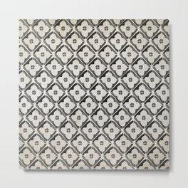 Moroccan Boho Black & White Pattern Metal Print