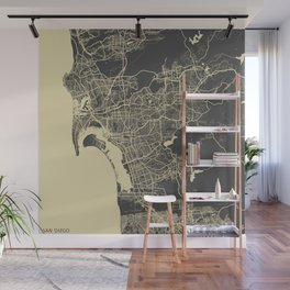San Diego Map yellow Wall Mural